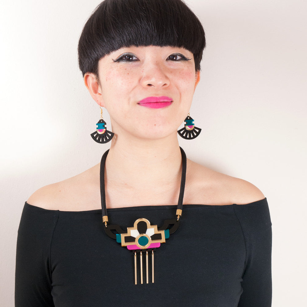 FORM028 Necklace - Gold, Teal, Pink