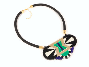 FORM029 Necklace - Gold, Purple, Green