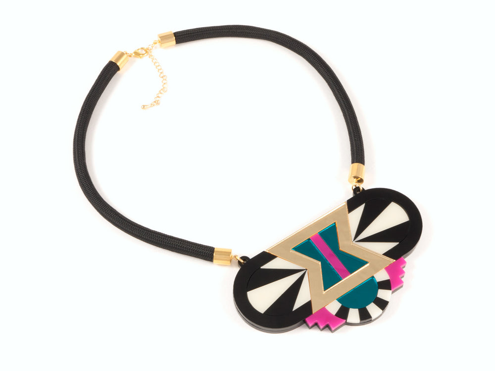 FORM029 Necklace - Gold, Teal, Pink