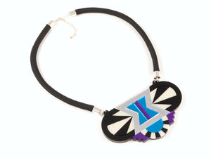 FORM029 Necklace - Silver, Skyblue, Purple