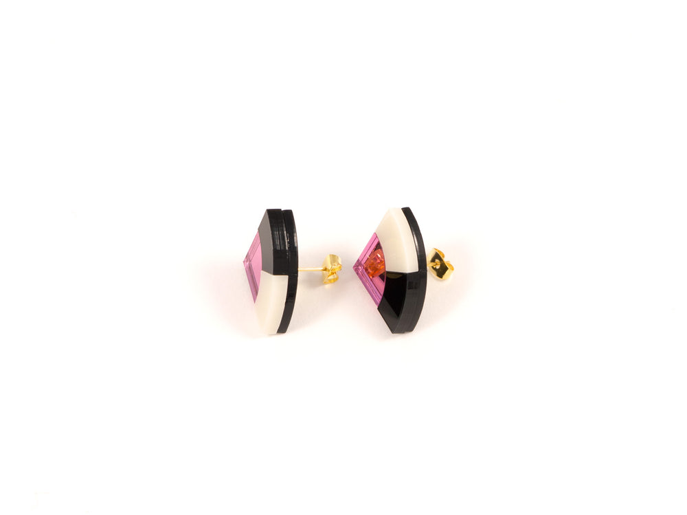 FORM030 Earrings - Babypink, Black, Ivory