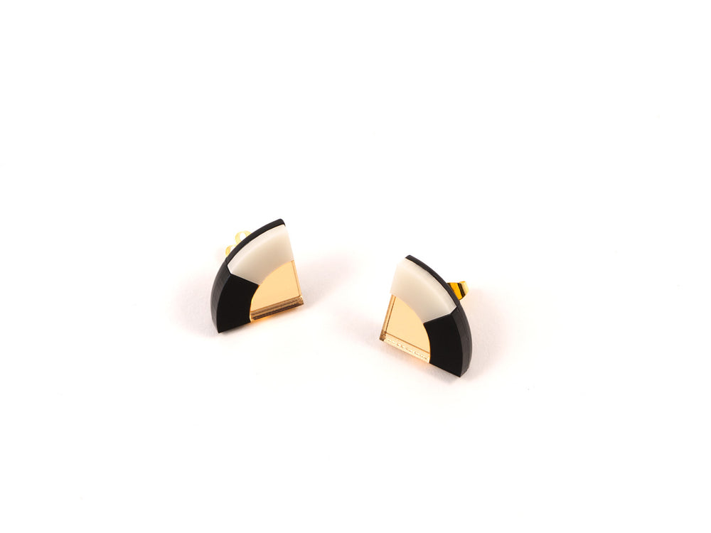 FORM030 Earrings - Gold, Black, Ivory