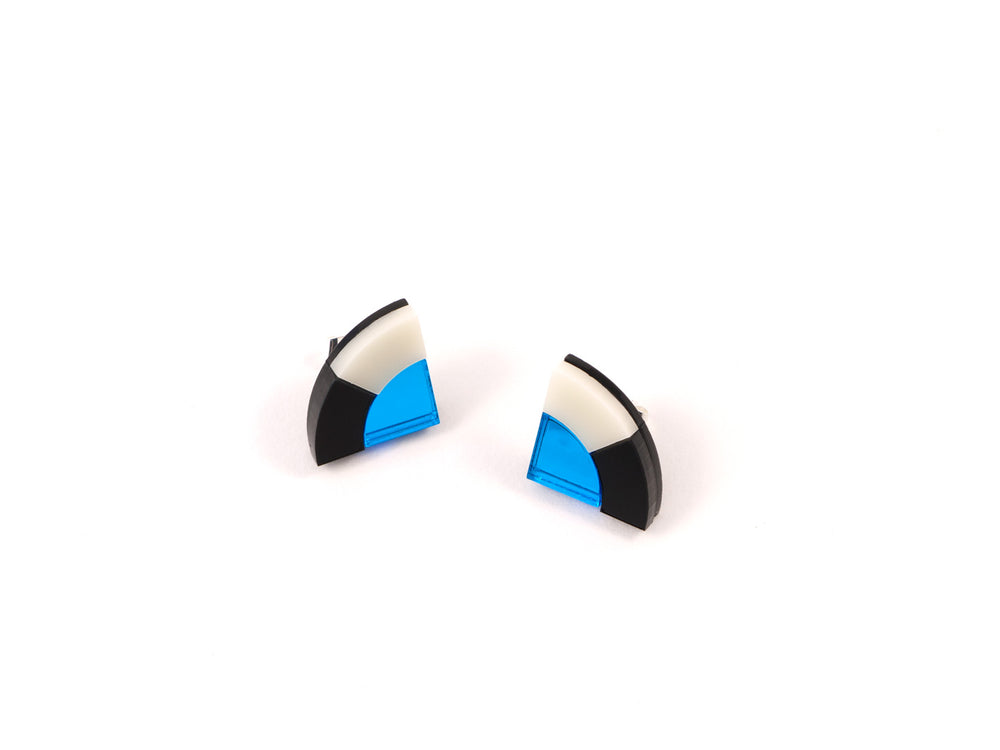 FORM030 Earrings - Skyblue, Black, Ivory