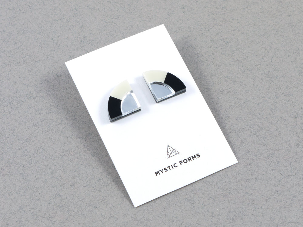 FORM030 Earrings - Silver, Black, Ivory