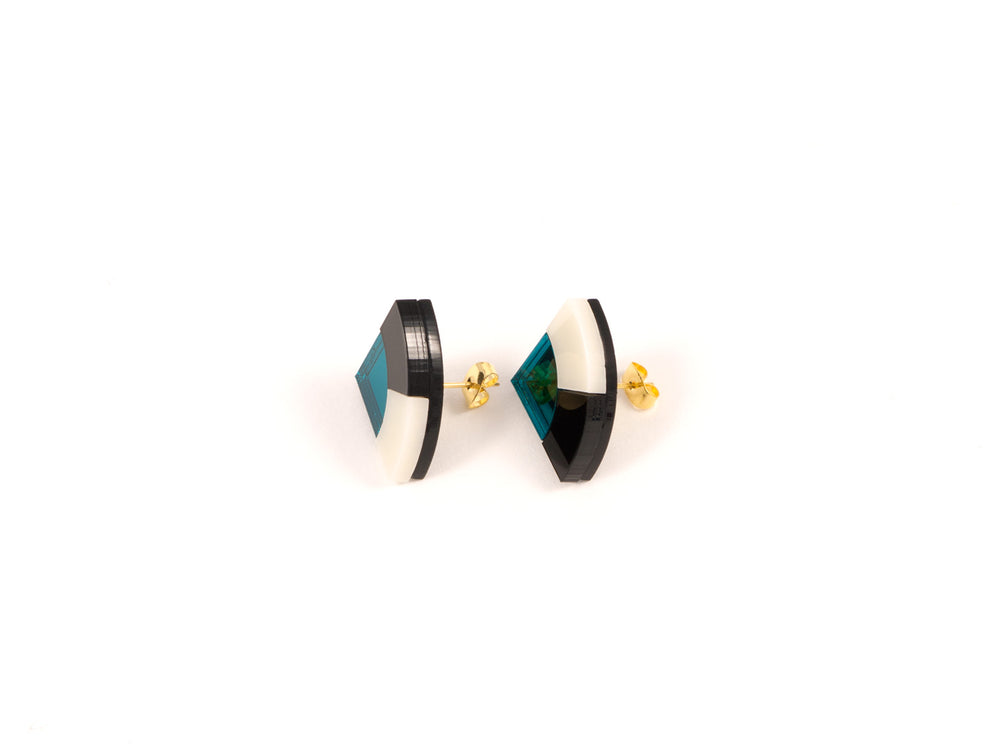 FORM030 Earrings - Teal, Black, Ivory