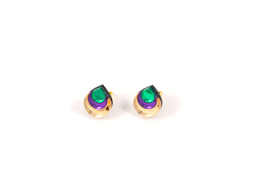 FORM031 Earrings - Gold, Purple, Green