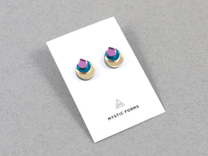 FORM031 Earrings - Gold, Teal, Babypink