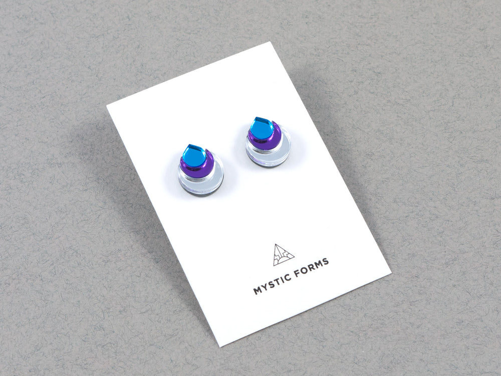FORM031 Earrings - Silver, Purple, Skyblue