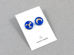 FORM032 Earrings - Blue, Gold
