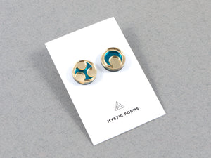 FORM032 Earrings - Gold, Teal
