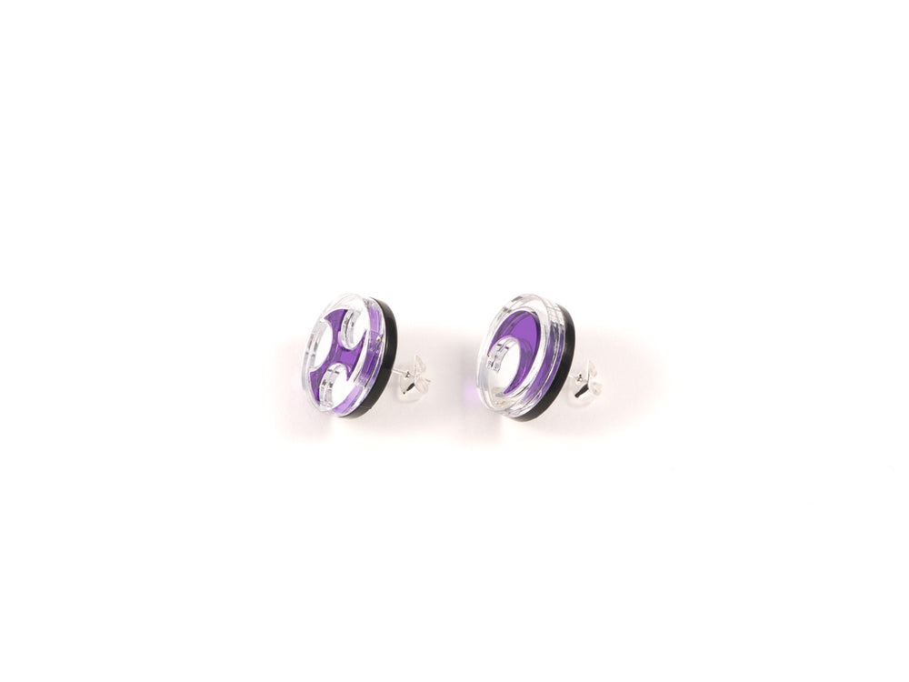 FORM032 Earrings - Silver, Mirror Purple