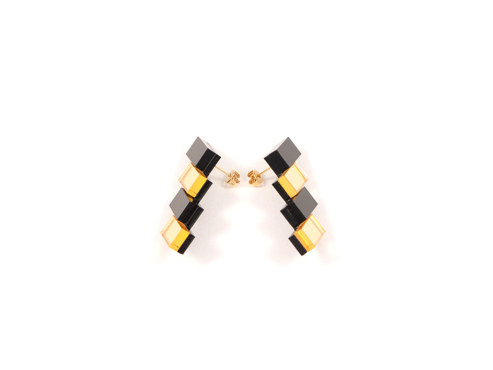 FORM033 Earrings - Black, Gold