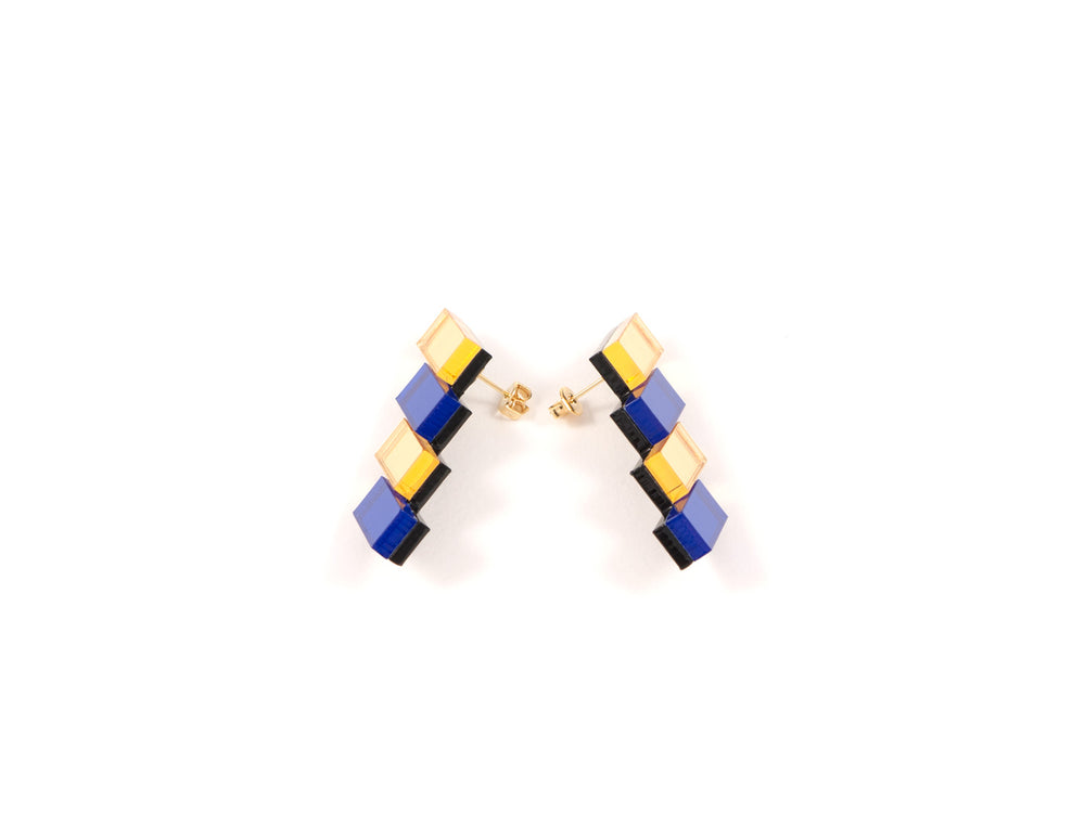 FORM033 Earrings - Gold, Blue