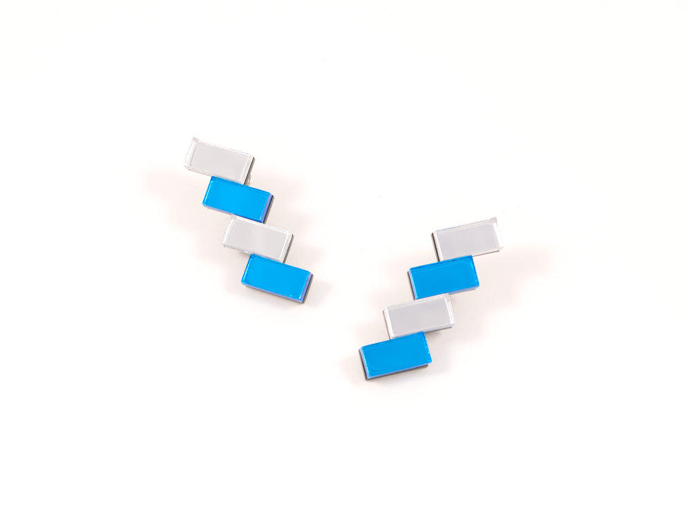 FORM033 Earrings - Silver, Skyblue
