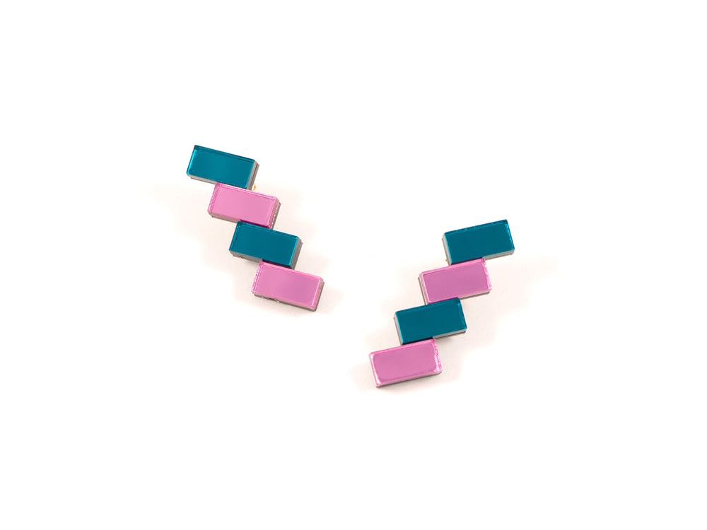 FORM033 Earrings - Teal, Babypink