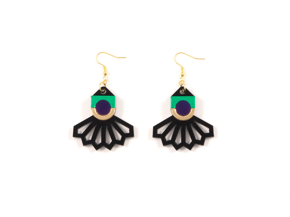 FORM034 Earrings - Gold, Purple, Green