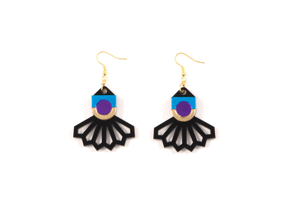 FORM034 Earrings - Gold, Skyblue, Purple