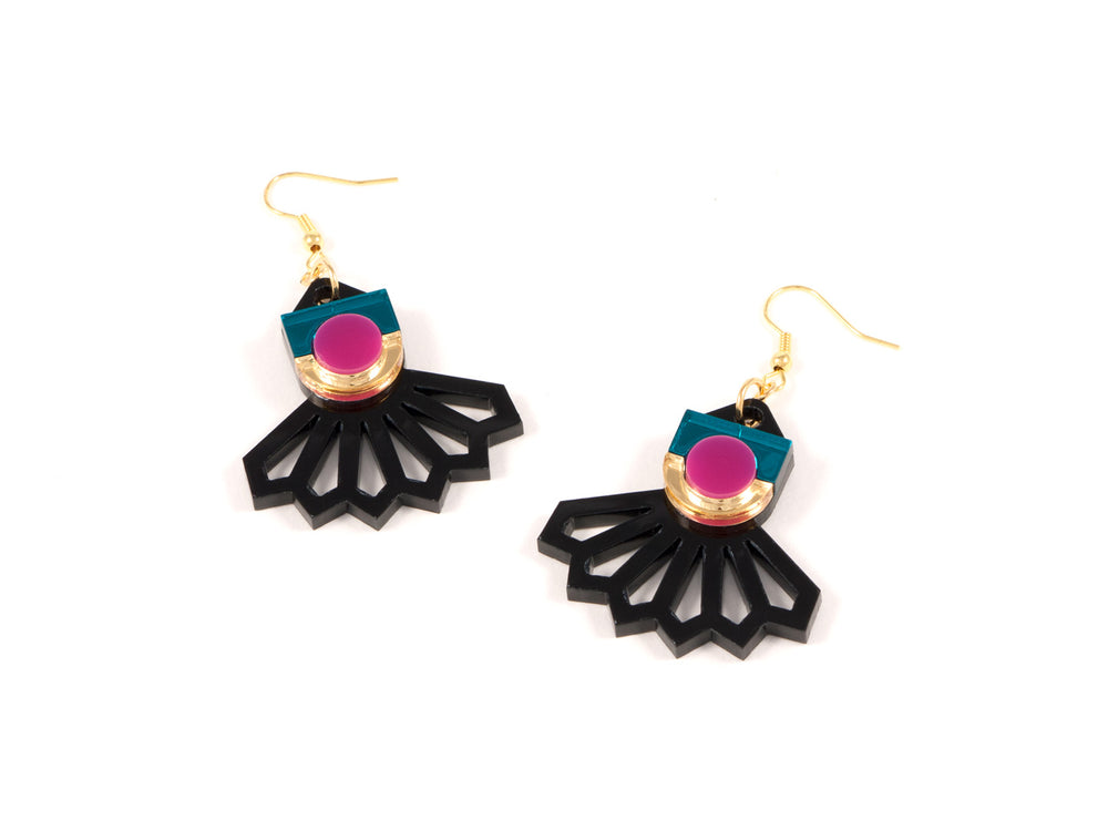 FORM034 Earrings - Gold, Teal, Pink