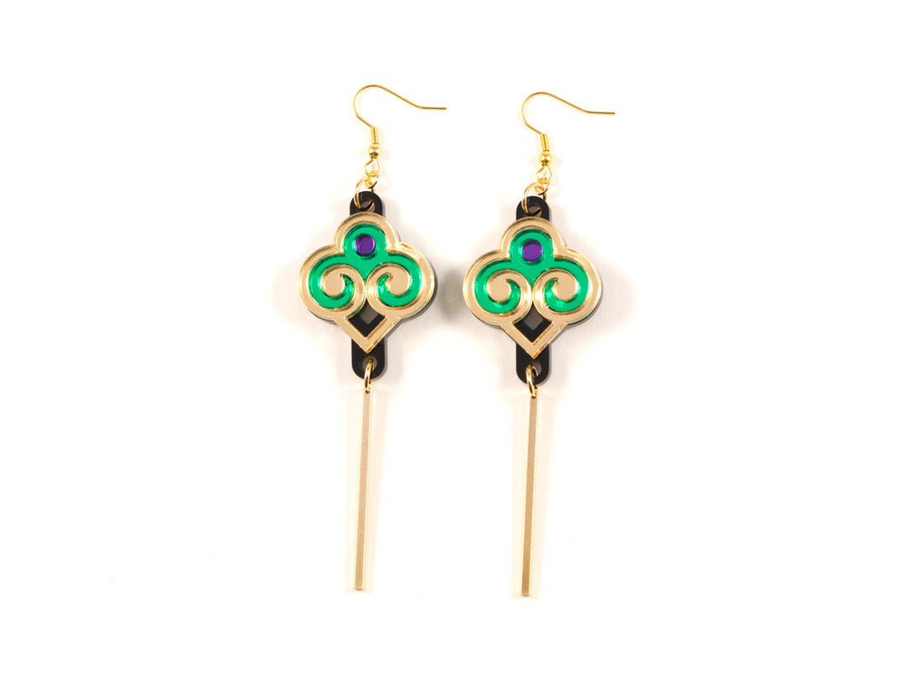 FORM035 Earrings - Gold, Purple, Green