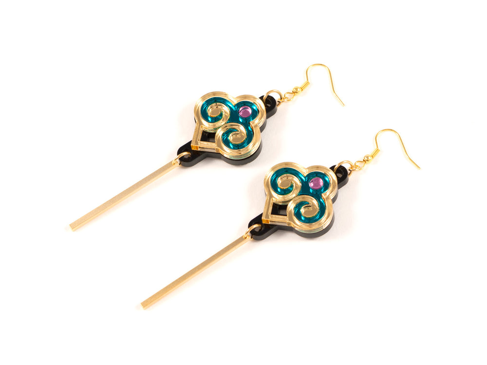 FORM035 Earrings - Gold, Teal, Babypink