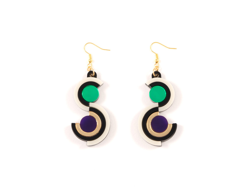 FORM036 Earrings - Gold, Purple, Green