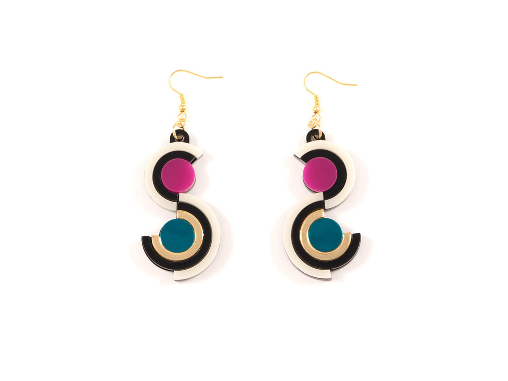 FORM036 Earrings - Gold, Teal, Pink