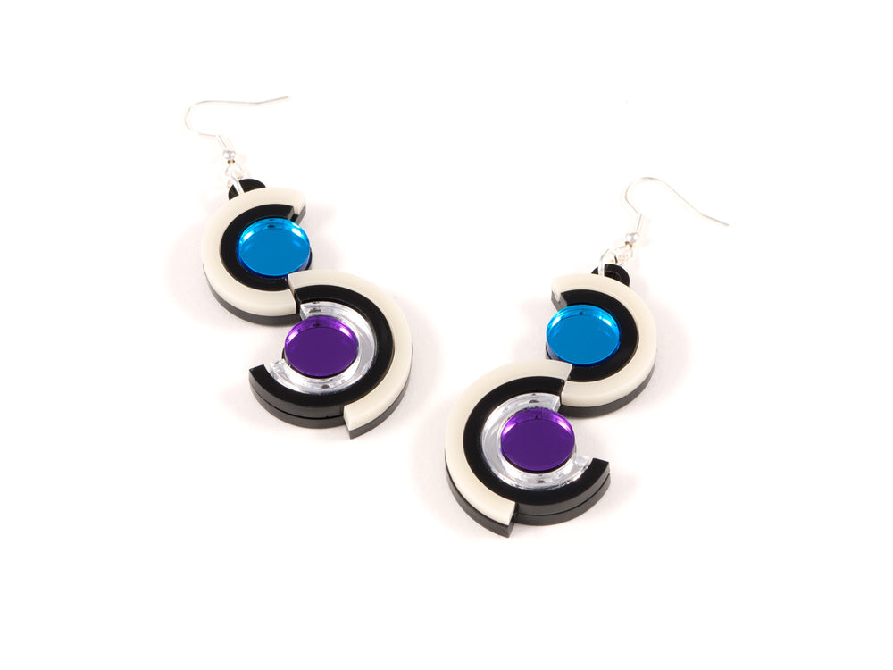FORM036 Earrings - Silver, Skyblue, Purple