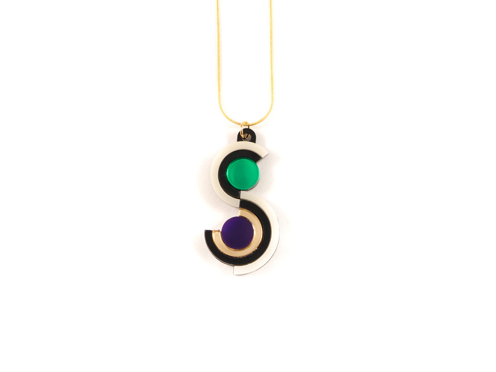 FORM037 Necklace - Gold, Purple, Green