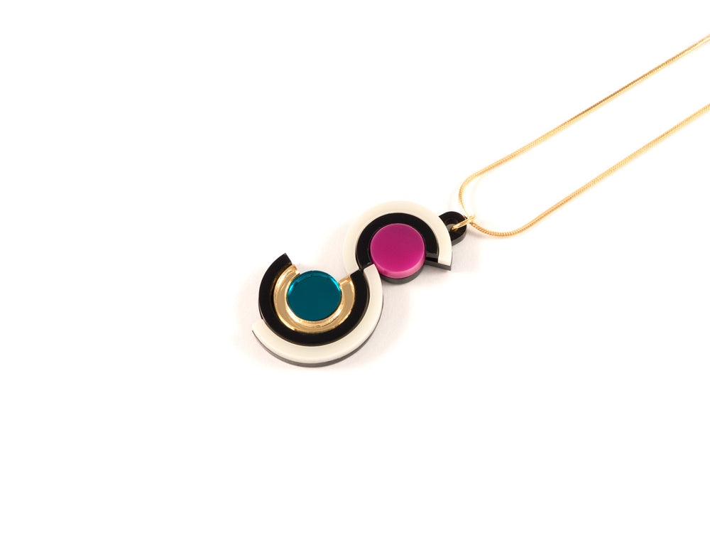 FORM037 Necklace - Gold, Teal, Pink