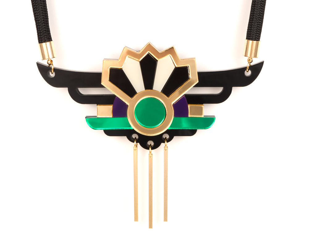 FORM038 Necklace - Gold, Purple, Green