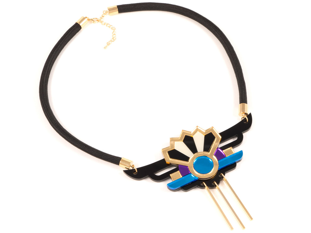FORM038 Necklace - Gold, Skyblue, Purple