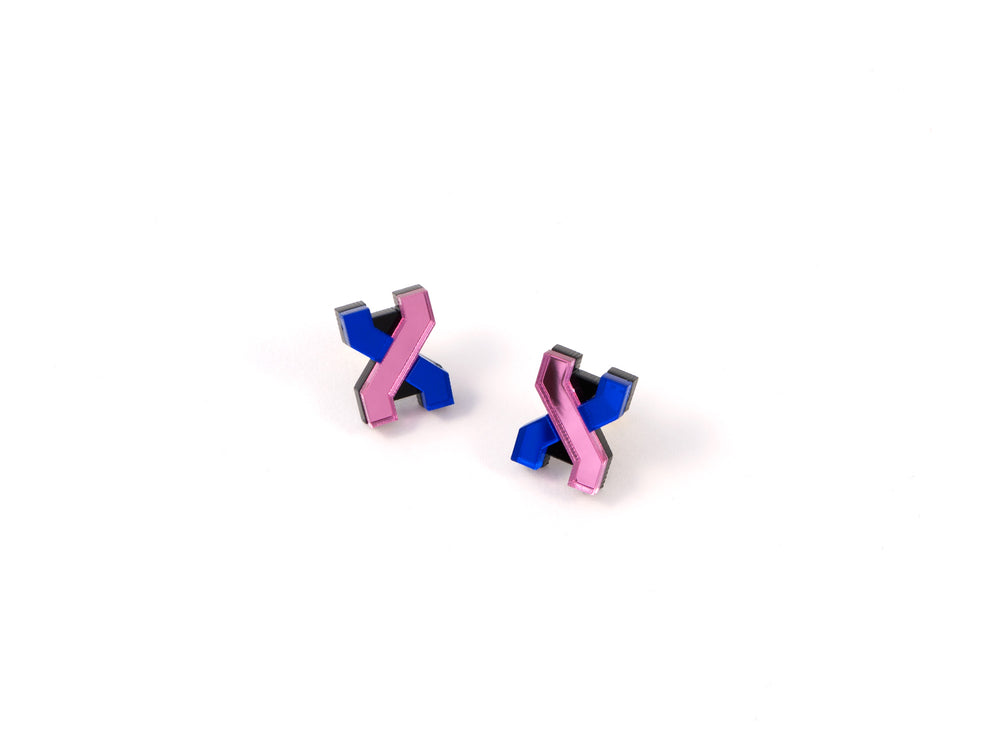 FORM039 Earrings - Babypink, Blue