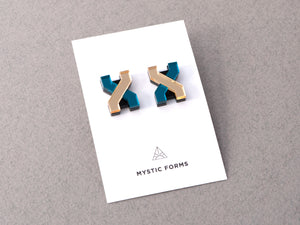 FORM039 Earrings - Gold, Teal
