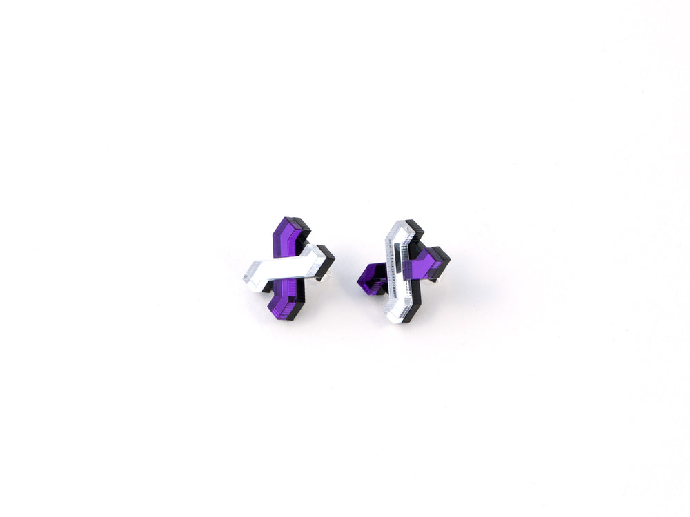 FORM039 Earrings - Silver, Mirror Purple