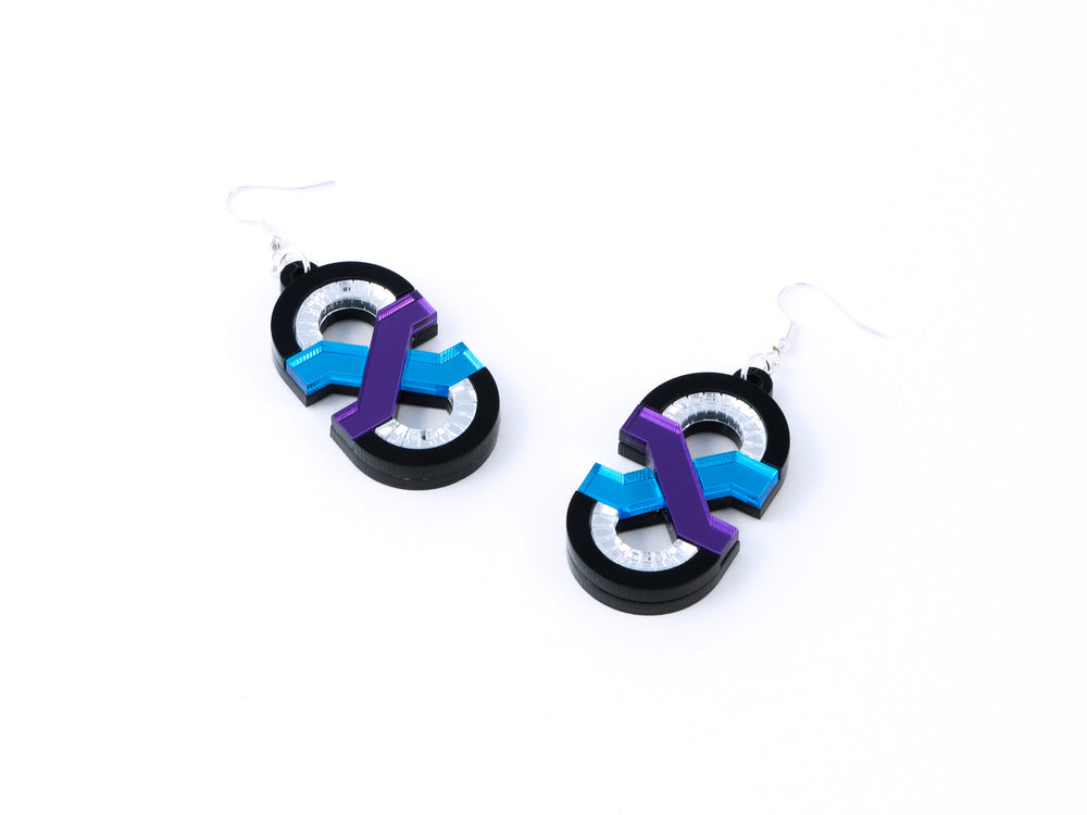 FORM041 Earrings - Mirror Purple, Skyblue, Silver