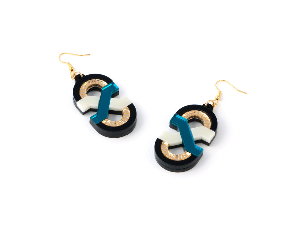 FORM041 Earrings - Teal, Ivory, Gold