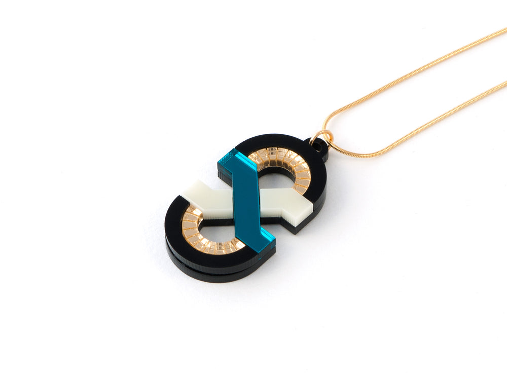FORM042 Necklace - Teal, Ivory, Gold