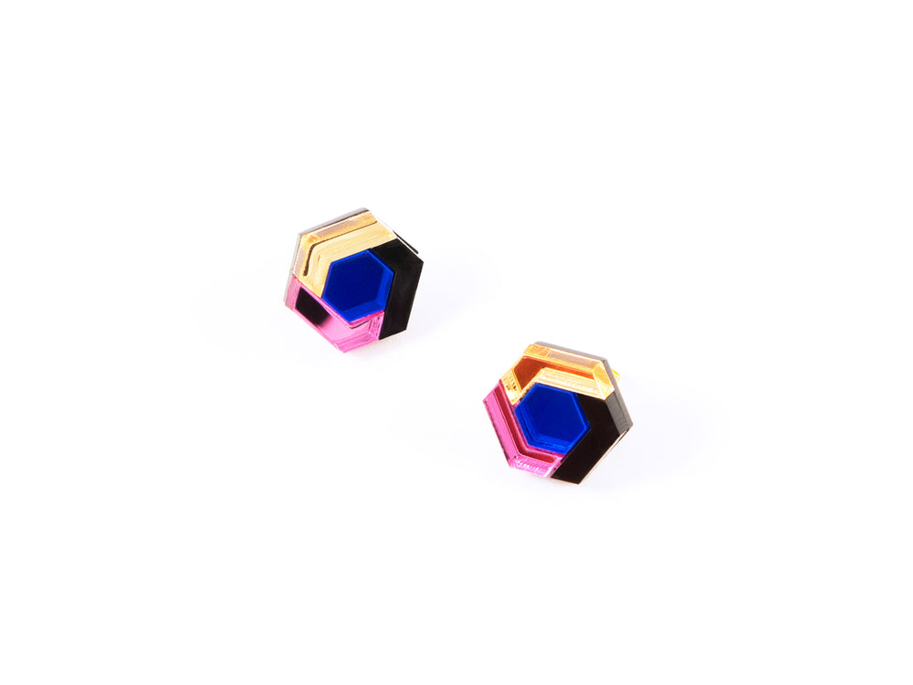 FORM043 Earrings - Babypink, Blue, Gold