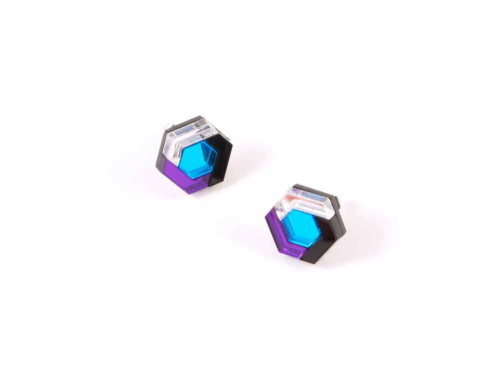 FORM043 Earrings - Mirror purple, Skyblue, Silver