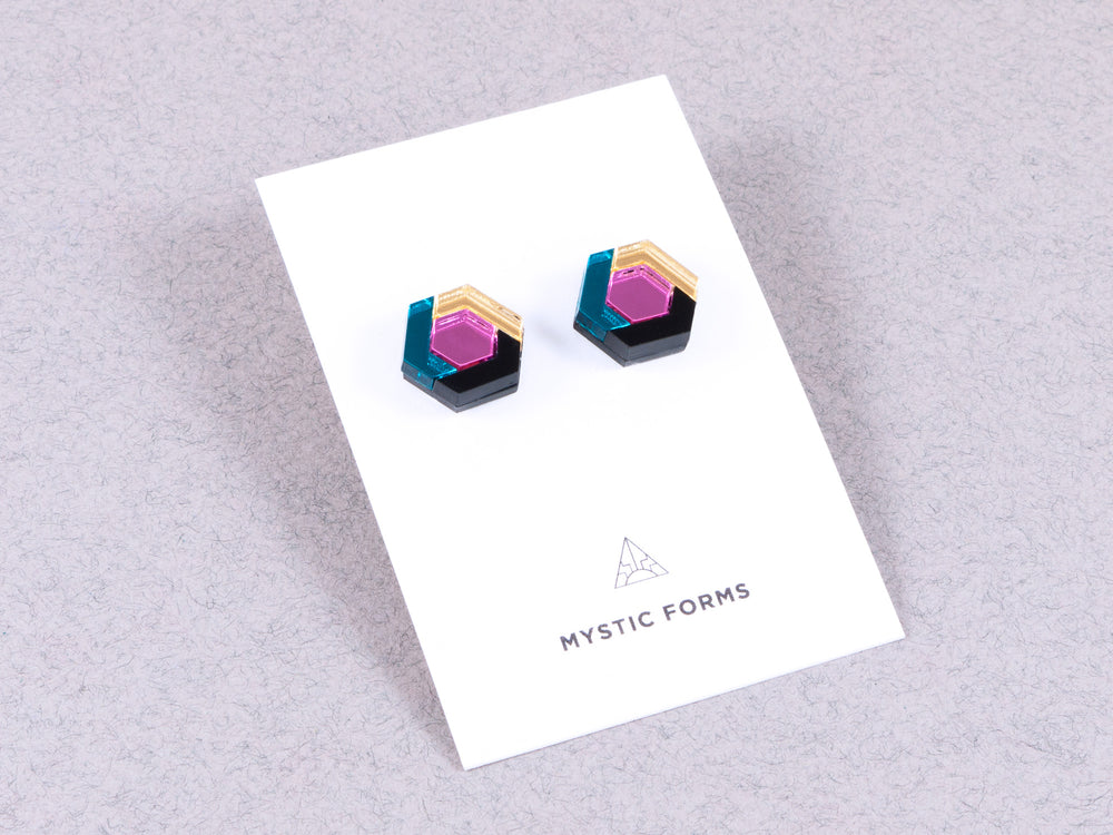 FORM043 Earrings - Teal, Babypink, Gold