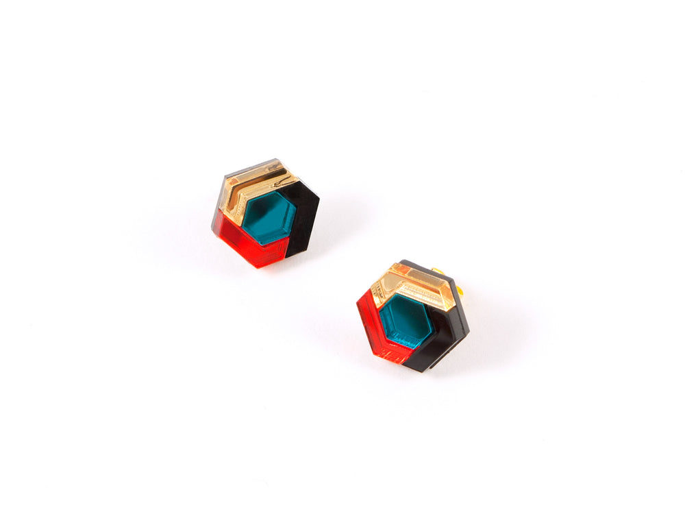 FORM043 Earrings - Teal, Orange, Gold