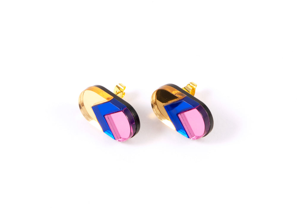FORM044 Earrings - gold, blue, babypink