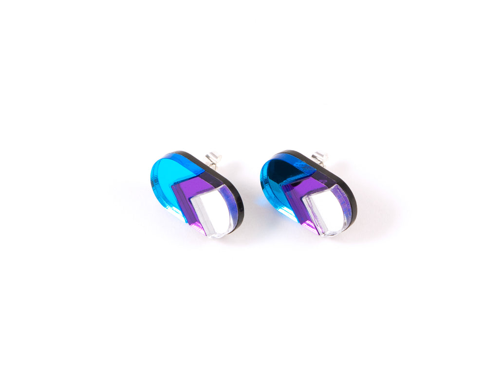FORM044 Earrings - skyblue, mirror purple, silver