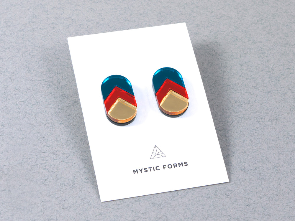 FORM044 Earrings - Teal, Orange, Gold