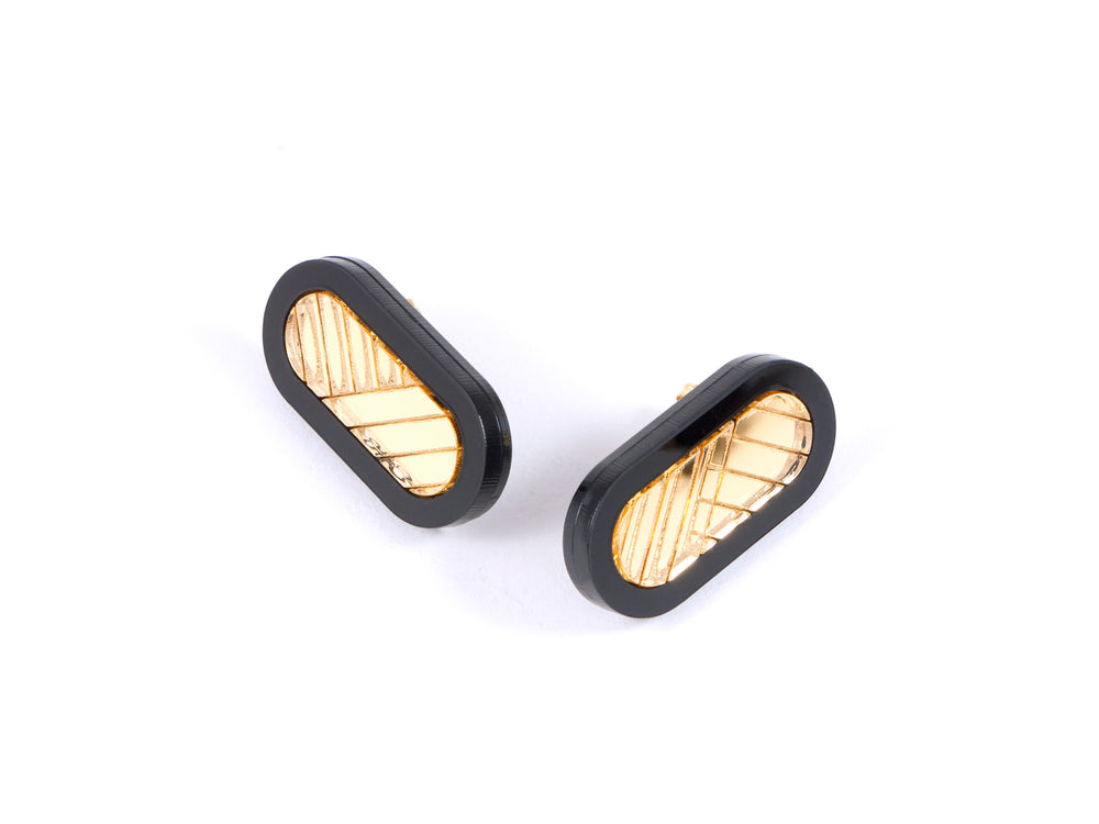 FORM045 Earrings - Black, Gold