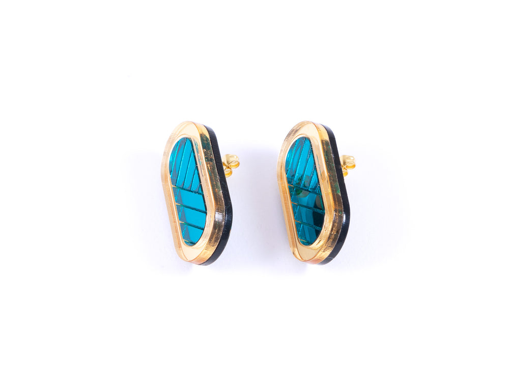 FORM045 Earrings - Gold, Teal