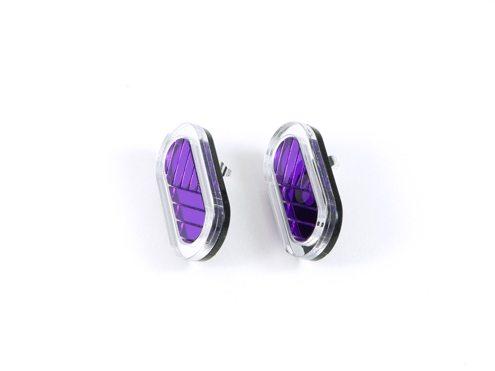 FORM045 Earrings - Silver, Mirror purple