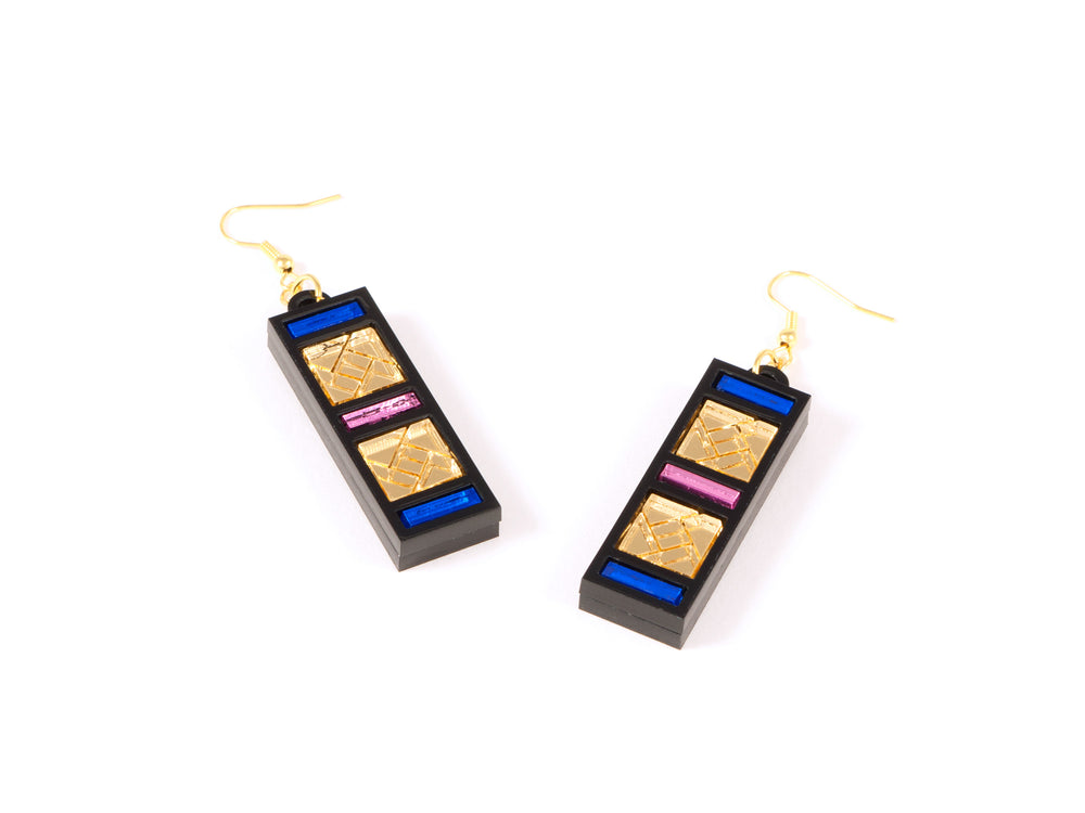 FORM046 Earrings - Gold, Babypink, Blue