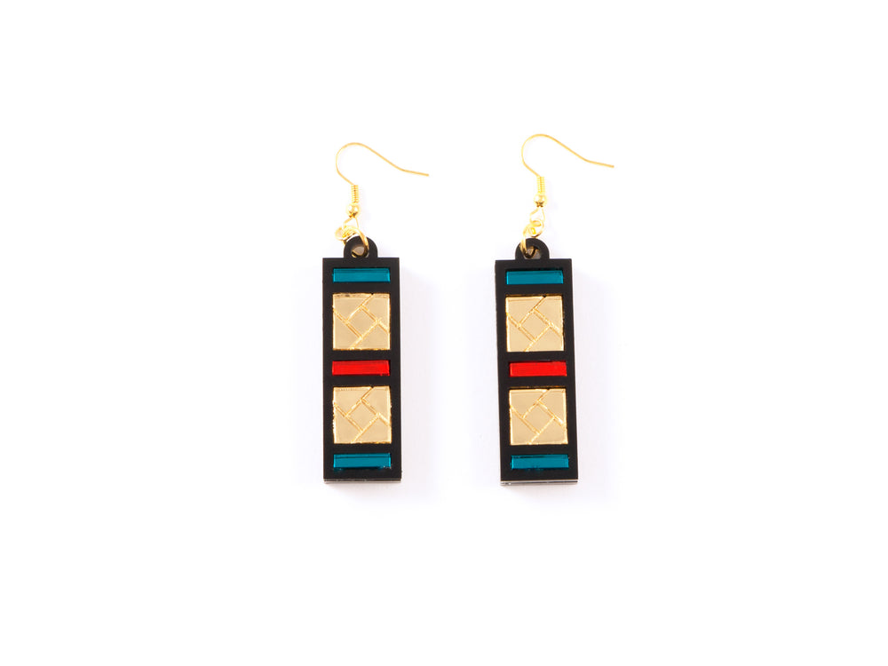 FORM046 Earrings - Gold, Orange, Teal