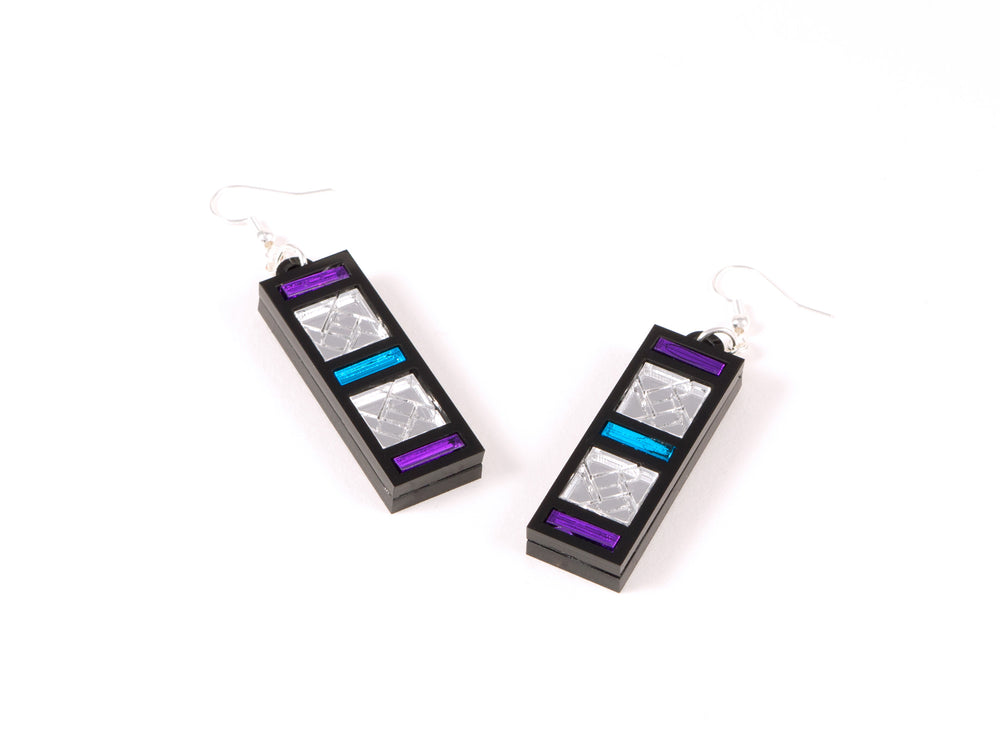 FORM046 Earrings - Silver, Skyblue, Mirror purple